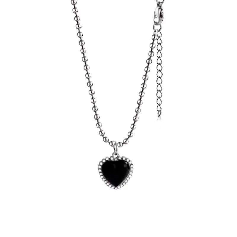 Kpop Fashion Beaded Black Choker Necklace for Women Cute Layered Chain Heart Pendant Korean Jewelry 2021 Free Shipping Collar