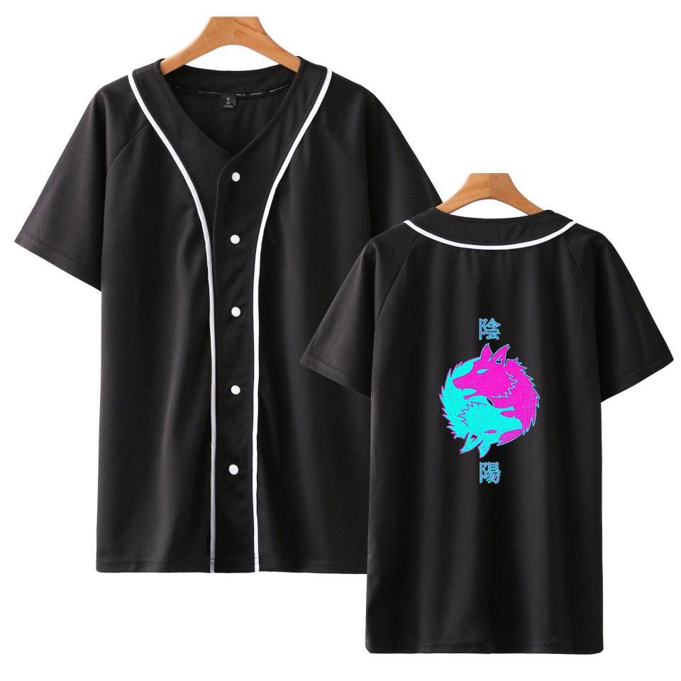Harajuku Japan Vaporwave Anime Baseball T Shirt Hip Hop Aesthetics T-shirt Men/Women Summer Breathable Short Sleeve Hip Hop Tops