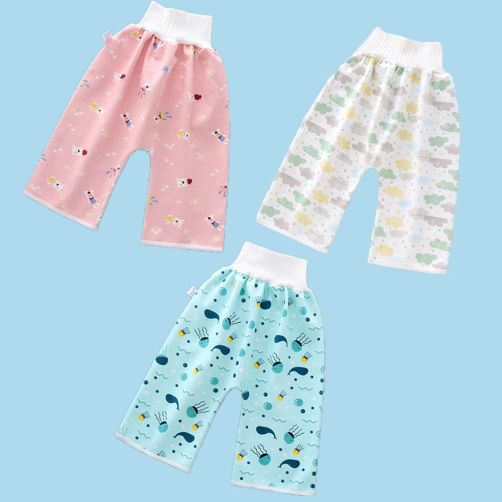 3-piece set of washable diapers, adjustable and reusable baby diapers, waterproof, leak-proof or diaper trousers