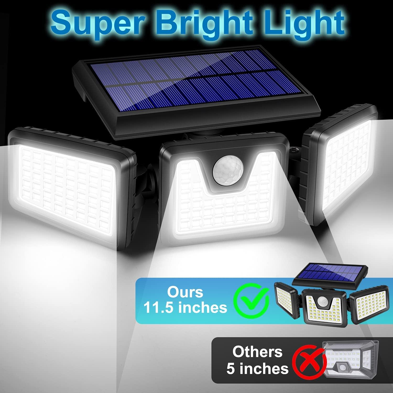 Solar Lights Outdoor 128 LED 800LM Wireless LED Solar Motion Sensor Lights 3 Adjustable IP65 Waterproof Security LED Flood Light enlarge