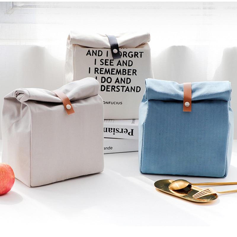 Lonchera Simple de estilo japonés, bolsa de almuerzo con aislamiento, bolsa térmica de papel de aluminio grueso portátil, bolsas de alimentos portátiles para mujeres
