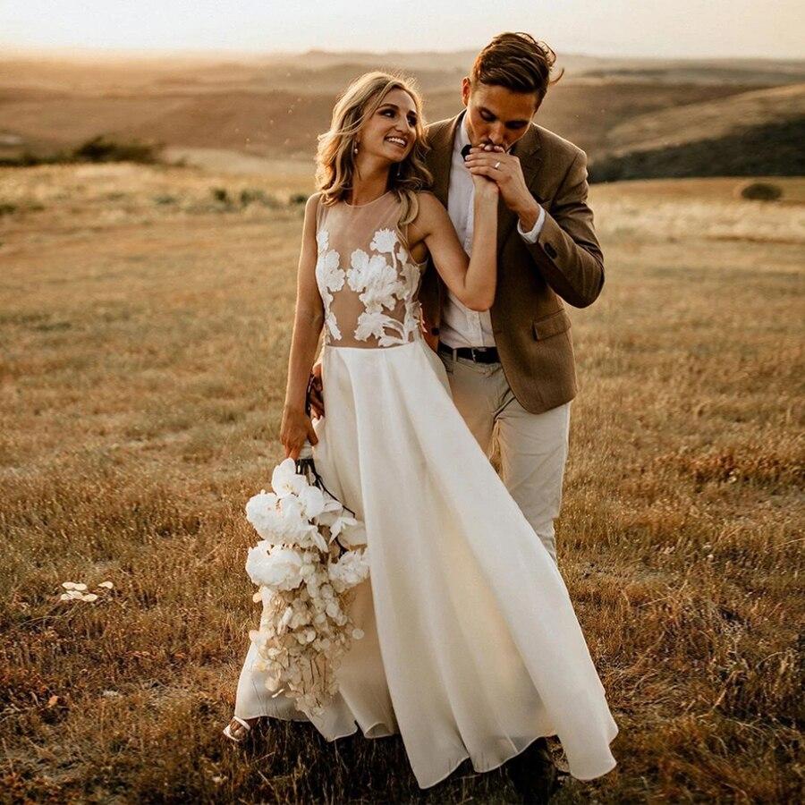 Simple ver a través de la longitud del piso playa vestidos de boda ilusión volver nupcial de destino vestidos vestido branco