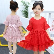 Summer Casual Dress Baby Girls Lace Floral Print Short Flare Sleeve Kids Princess Dresses 2019