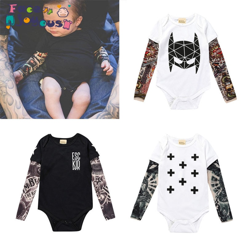 Recién Nacido niño y niña bebé tatuaje de flor para brazo falso dos de manga larga mameluco para bebé Sunsuit trajes camiseta ropa