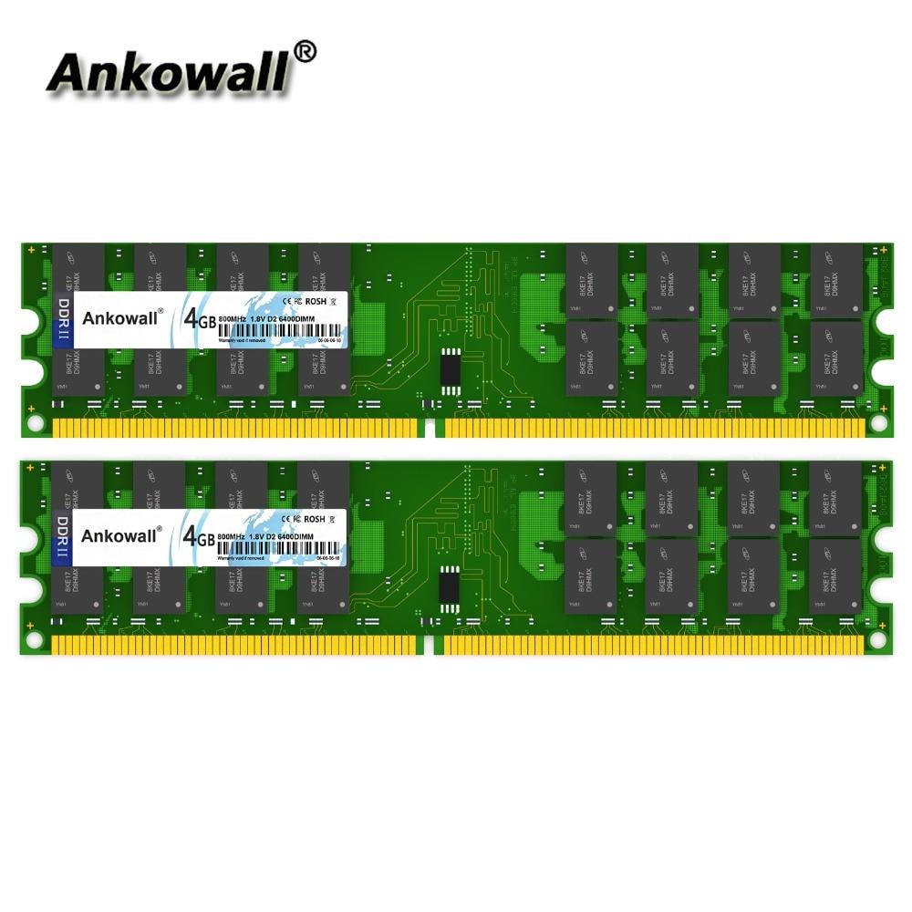 Ankowall DDR2 800 MHz 8GB Kit (2x4 GB) 4GB RAM 800 MHz DIMM memoria para Notebook de PC2-8500 escritorio RAM