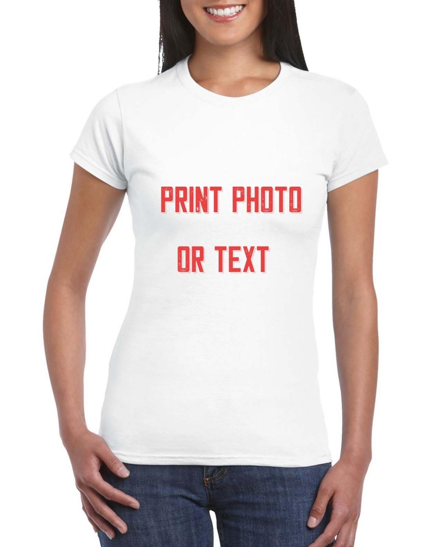 Camisetas ajustadas personalizadas para mujer, Camiseta de algodón Premium Ultra suave con texto para mujer