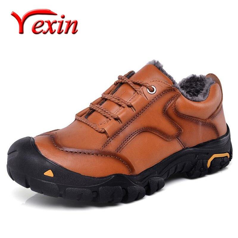 حذاء شتوي رجالي 100% جلد طبيعي دافئ أحذية رجالية أحذية مطاطية مقاومة للماء أحذية ثلج قطيفة أحذية كاحل مقاس كبير 50