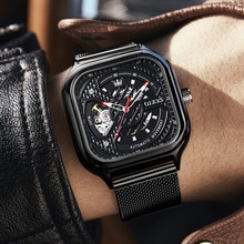 OLEVES 2021 Automatic Watches Men Mechanical Wristwatches Steampunk Waterproof Fashion Casual Sports
