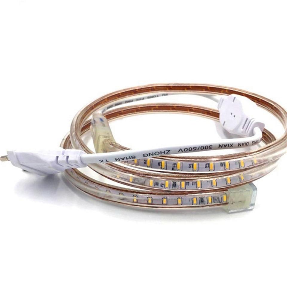 Tira de luces LED de 220V 3014 SMD impermeable 120 LEDs/m tira de luces LED de cuerda al aire libre blanco/blanco cálido/azul enchufe de interruptor de alimentación de la UE