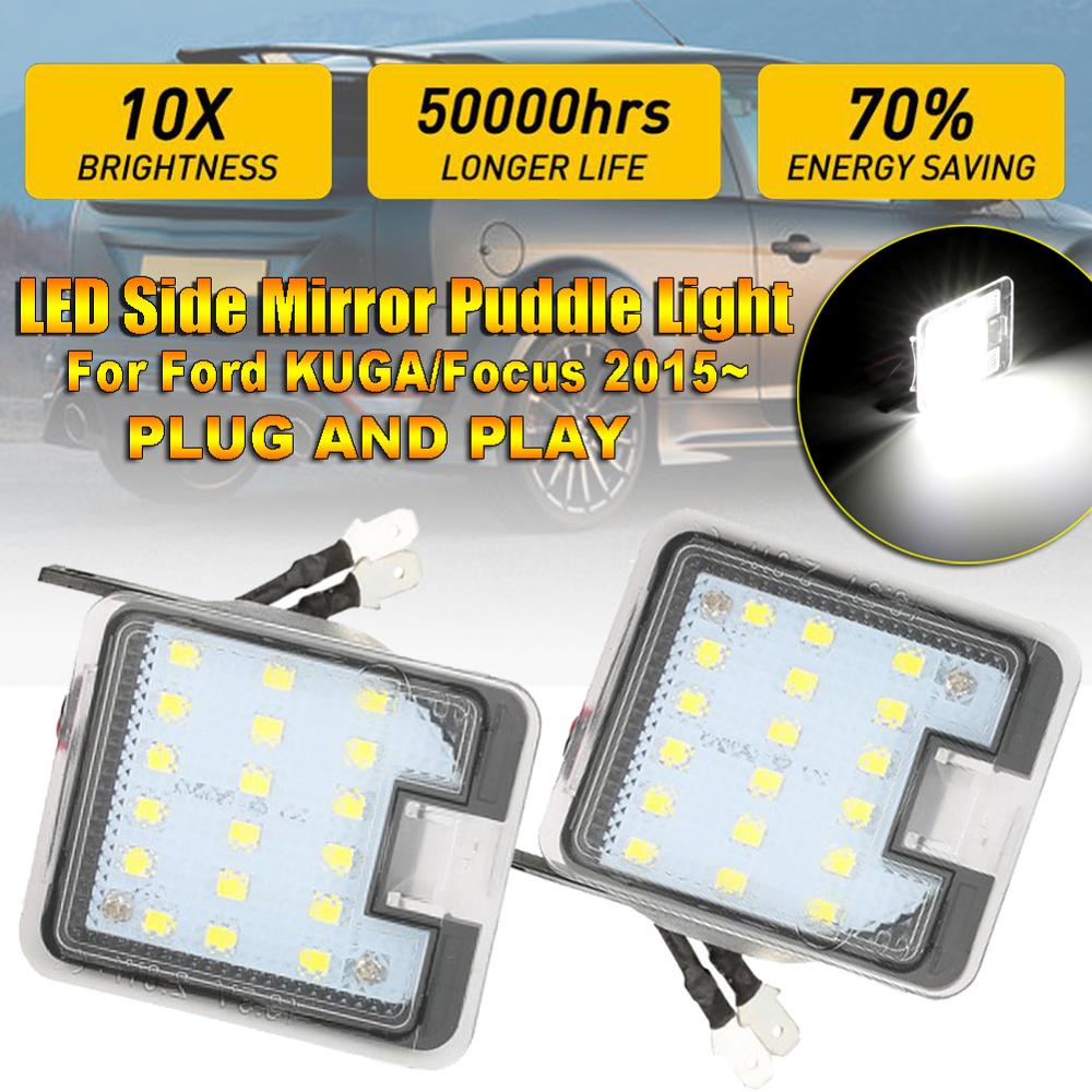 2x LED Side Mirror Puddle Light Led Under Rearview 6000K Signal Lamp Car-styling Auto Replacement for Ford Kuga Foc