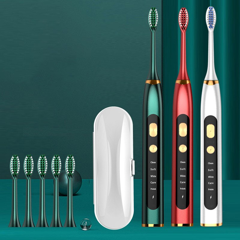 Edieu Electric Rechargeable USB Charge Sonic Toothbrush IPX7 Waterproof 5 Optional Modes Soft Traveling Toothbrush 5 Brush Heads