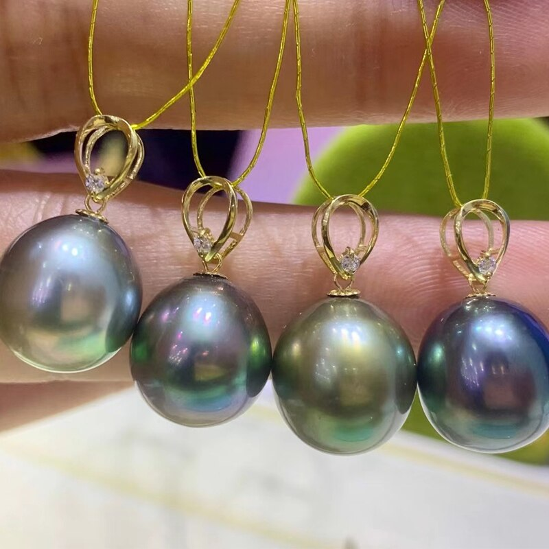 HENGSHENG 11-12MM Rice Shape Tahiti Natural-Ocean Green Pearls Pendant, 18k Gold Clasp With Free Silver Chain Fine Jewelry