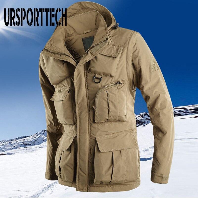 Куртка URSPORTTECH Мужская Утепленная флисовая, зимние куртки в стиле милитари, пальто большого размера, плотная теплая ветровка