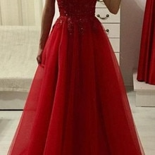 Spaghetti Strap Red Evening Dresses V Neck Tulle Lace Robe De Soiree Sleeveless Long Formal Prom Par