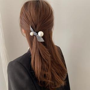 Spring Autumn Women Headdress Simple Thousand Bird Lattice Knot Hair Rope Big Pearl Rubber Band Female Headband