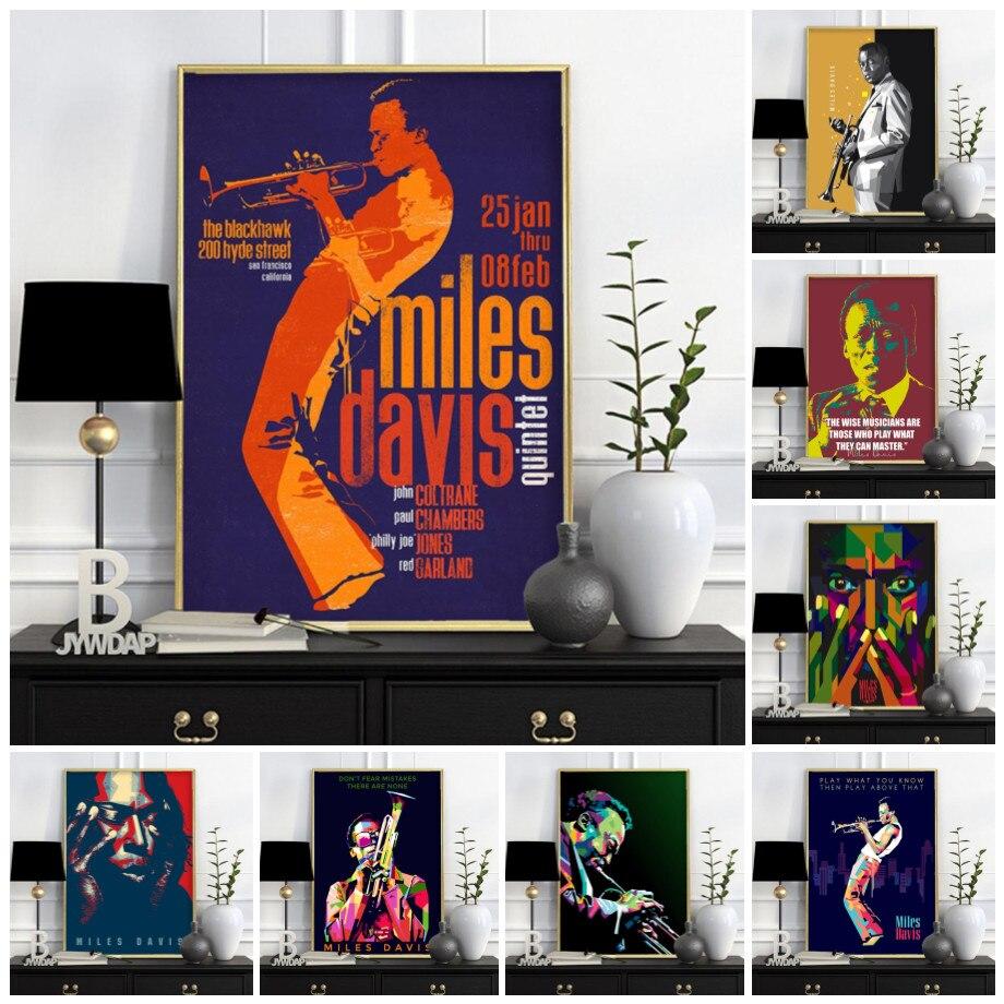 Картина на холсте с изображением Майлса Дэвиса, художественный плакат, джаз, музыка, звезды, голубые плакаты и принты, настенное искусство, у...