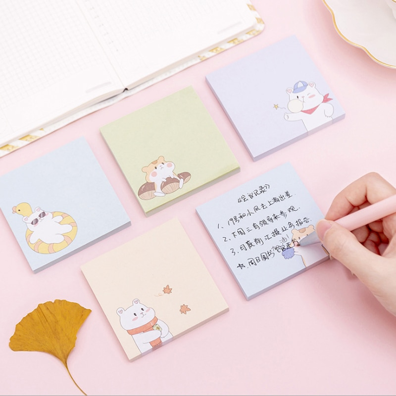1 paquete de bloc de notas de oso de Sushi, pato amarillo, Bloc de notas, planificador Escolar DIY, papel de bloc de notas, notas adhesivas, papelería, regalo para niños