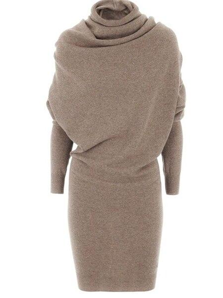 Women Casual Sweater Dress Winter Warm Black Elegant Turtleneck Wool Blend Lady Camel Modern Fashion