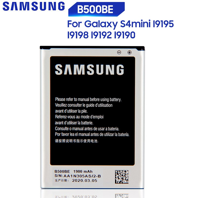 Original Replacement Samsung Battery For Galaxy S4 Mini I9195 I9190 I9192 I9198 S4Mini Battery 3 pins B500BE 1900mAh samsung orginal b500ae b500be battery 1900mah for samsung galaxy s4 mini i9192 i9195 i9190 i9198 j110 i435 i257 b500ae 3 pin