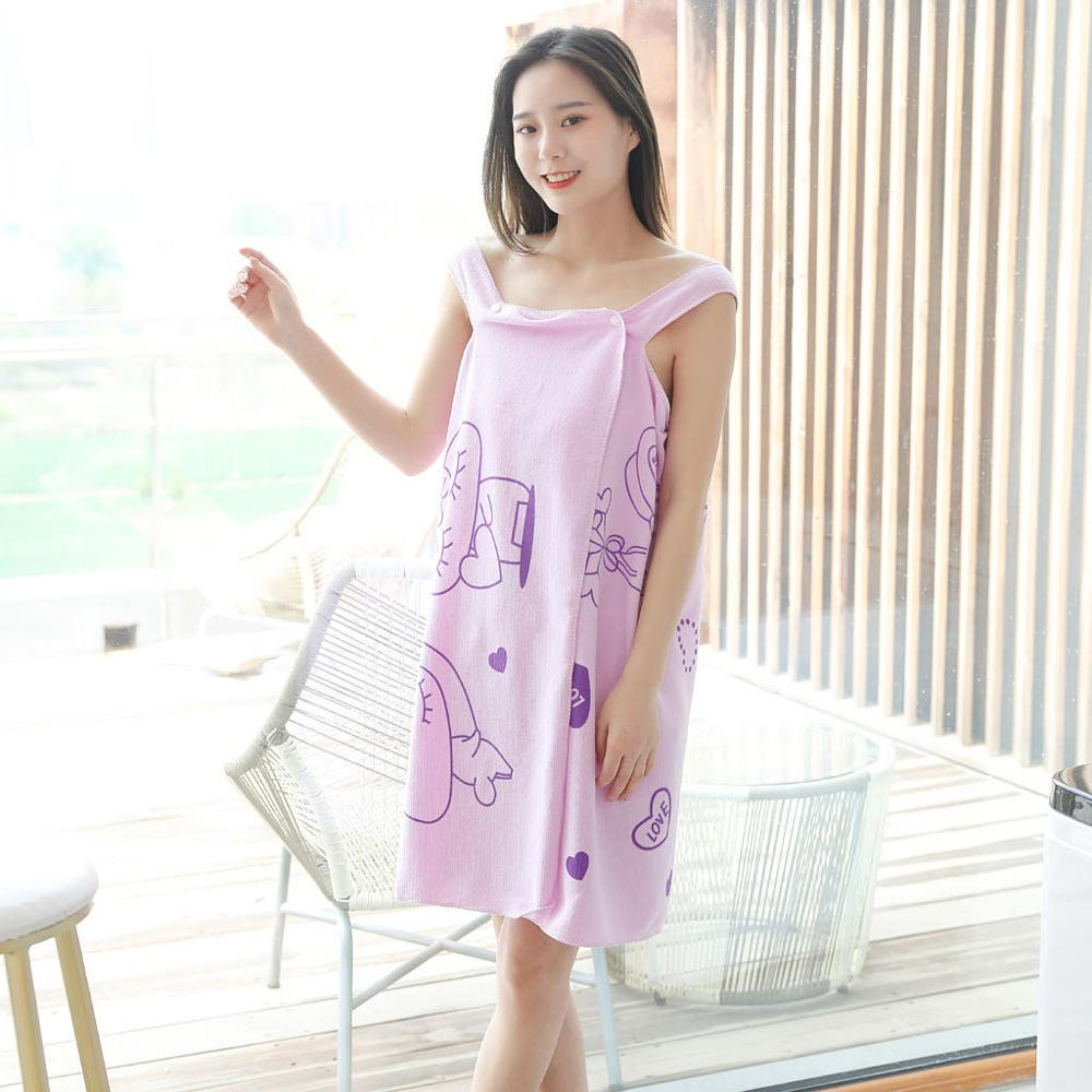 Купить с кэшбэком Quick Dry Home Textile Towel Women Robes Bath Wearable Towel Dress Womens Lady Fast Drying Beach Spa Magical Nightwear