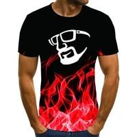 2021 summer mens hot sale t shirt 3dt graphics glasses shirt hip hop short sleeved thin couple casual t shirt harajuku