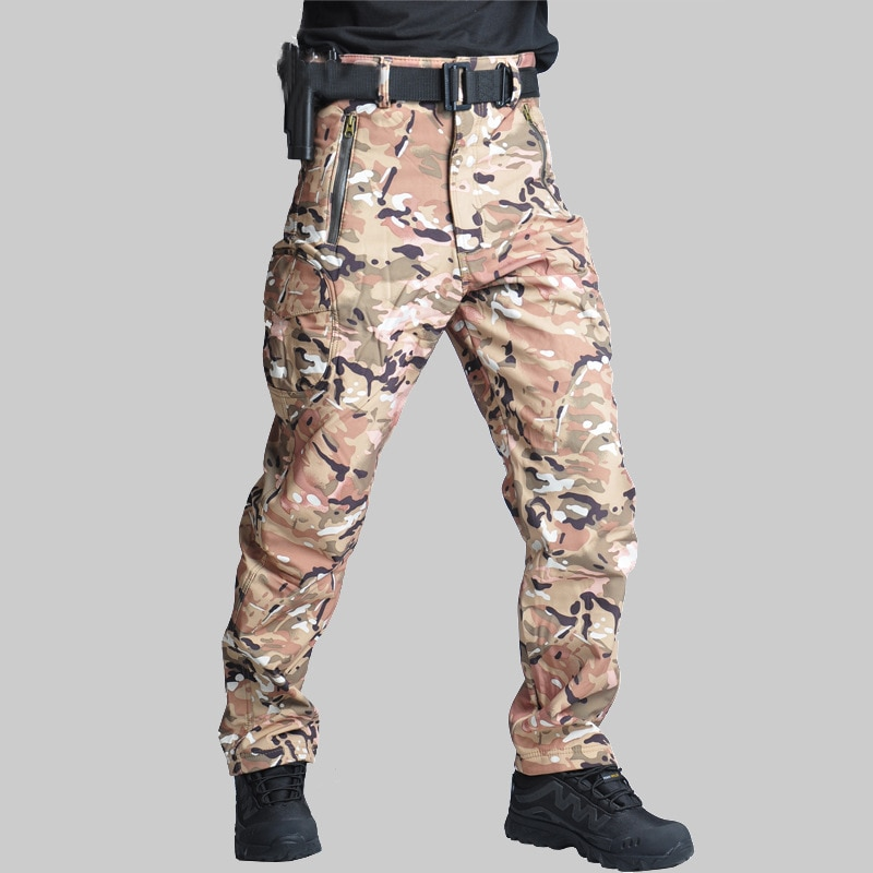 Homens calças de camuflagem à prova dwindproof água à prova de vento ao ar livre caminhadas escalada calças de lã do exército militar cs caça pant
