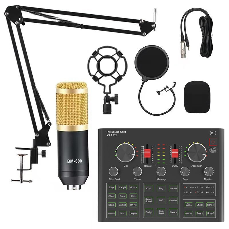 BM800 Pro Microphone Mixer Audio dj Condenser Sound Card Live Broadcast MIC Stand USB Bluetooth Recording Professional Game V8V9