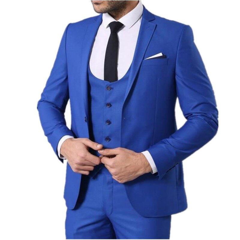 بدلة رجالية من 3 قطع بلون أزرق متين مخصصة ضيقة من البوليستر غير الرسمية المفرد بصدر واحد ملائمة لحفلات الكوكتيل وحفلات الزفاف