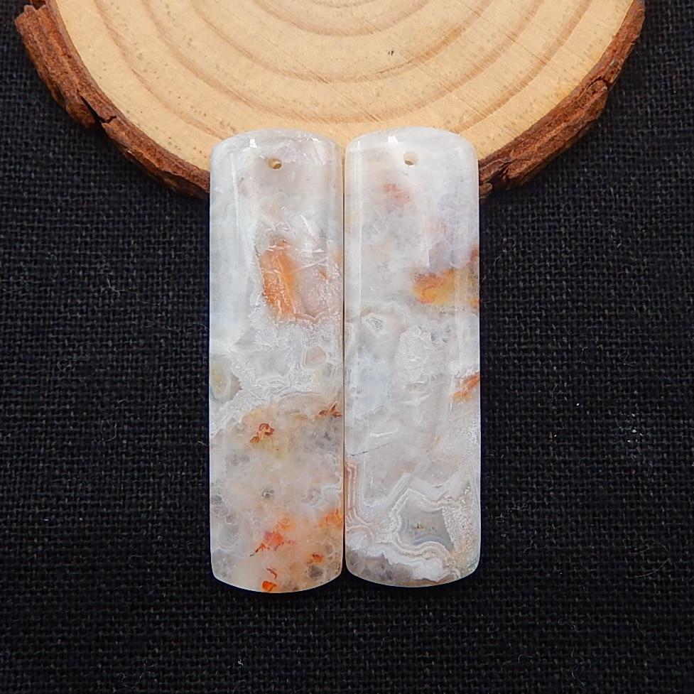 Natural crazy lace rosetta pedra brincos contas, pedra para fazer brincos, 45x13x5mm,11.7g