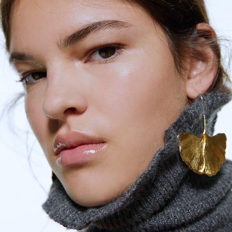 Bestessy ZA declaración de moda Color dorado árbol hoja grandes pendientes largos colgantes gota pendientes para mujeres niñas fiesta oreja joyería regalo