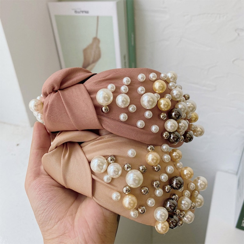 Women Hairbands Wide Side Headband Mix Pearls Baroque For Adult Center Knot Headwear Hair Accessories  - buy with discount