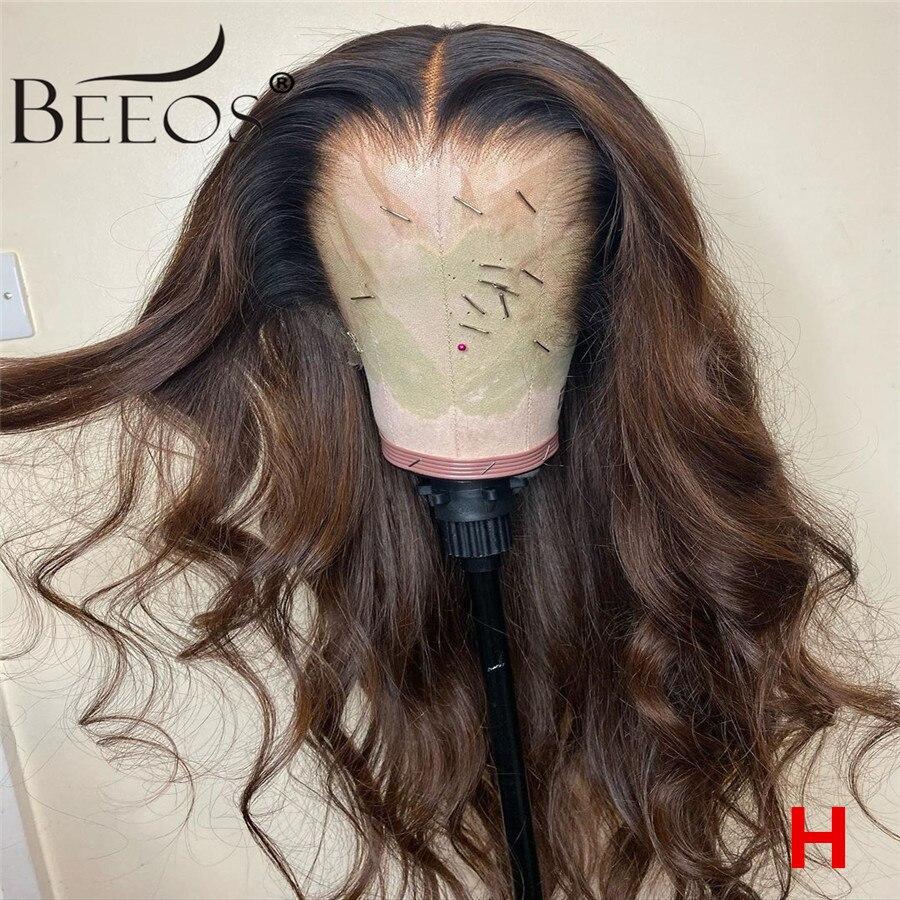 360 180% colorido perucas de cabelo humano cor marrom perucas longo onda do corpo remy preplucked ombre brown peruca dianteira do laço descorado nós