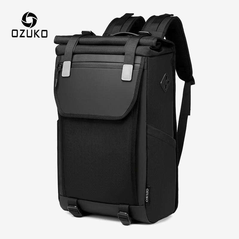 OZUKO حقيبة ظهر مضادة للماء للرجال مقاس 15.6 بوصة حقيبة ظهر عصرية للحاسوب المحمول حقيبة ظهر مدرسية للمراهقين مزودة بوصلة USB حقيبة سفر للرجال