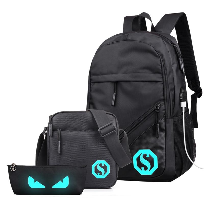 New 3pcs Bag Set Boys School Bags USB Laptop Backpacks Waterproof Backpack for Student Schoolbag Boo