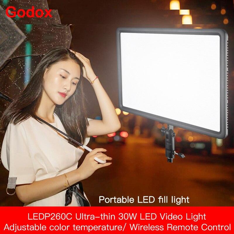 Godox LEDP260C Ultra delgado 260 LED Video luz Panel 30W lámpara 3300K ~ 5600K para cámara DSLR videocámara estudio fotografía