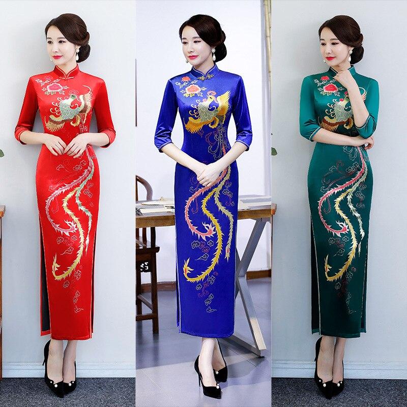 Gran tamaño 5XL Vintage chino tradicional mujeres Velour Flower Qipao mandarín Collar Cheongsam novedad vestido Formal chino
