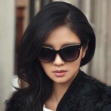 Kobiece śliczne okulary przeciwsłoneczne kocie oczy kobiety popularne marki designerskie okulary przeciwsłoneczne Retro gogle Cateye okulary gradientowe okulary