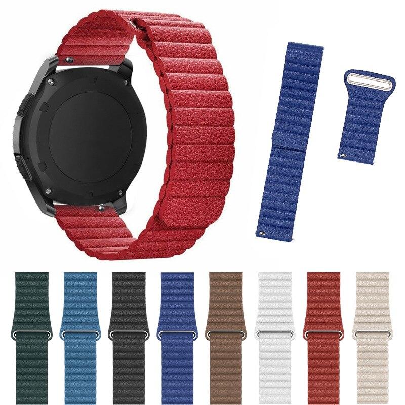 Correa de reloj magnético Retro para Samsung Galaxy Watch de 42/46mm, correa de cuero genuino para SM-R810/R800 Active 2