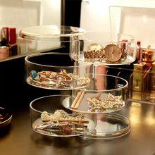 Boîte rotative à bijoux transparente multi-niveaux   Boîte à bijoux rotative, boîte de rangement pour boucle doreille, épingle à cheveux, coiffure, cosmétique
