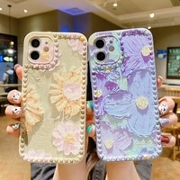 3d phone case for iphone 12 11 pro xs max 12mini xr x 8 7 6s plus photo frame flower watercolor silicone retro cover