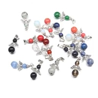 natural stone pendants round bead angel shape charms quartzd pendant for jewelry making diy necklace earring accessories 12x32mm