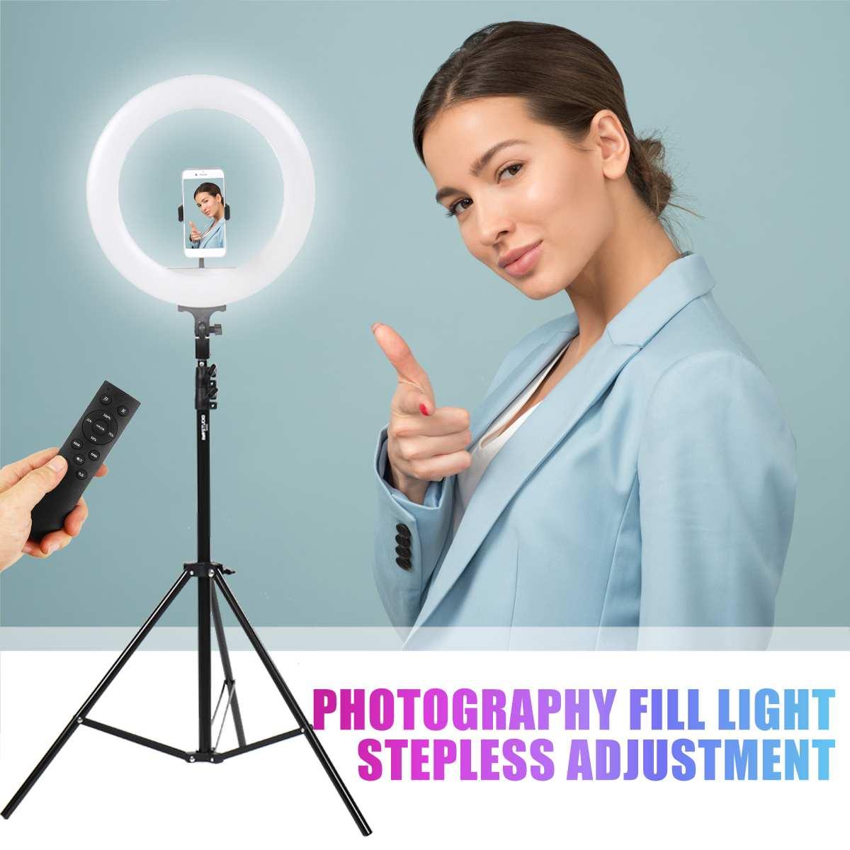 Anel de luz de led portátil para maquiagem, 2.1m, 14 polegadas, lâmpada para selfie, anel usb, suporte para celular, tripé, fio, suporte comutação do controlador