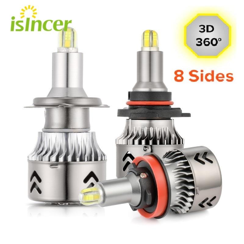 8 lados led csp chips farol lâmpadas mini corpo h7 360 graus de luz completa 18000lm h11 conduziu a luz de nevoeiro h1 h3 9005 9006 hb3 hb4 6000k