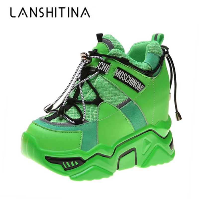 Moda 2019, botas con plataforma alta para mujer, tacón alto de 11CM, zapatillas de suela gruesa para mujer, botines transpirables de otoño, botas gruesas para invierno