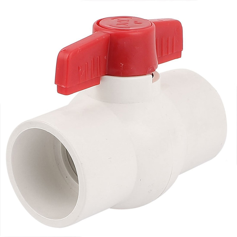 Válvula de bola de PVC para Control de agua con extremos deslizantes de 50MM/2 pulgadas color blanco y rojo