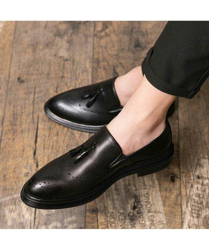 Men's Handmade PU Black Retro Tassel Hollow Fashion Trend Classic Business Loafers Low-heel Comforta