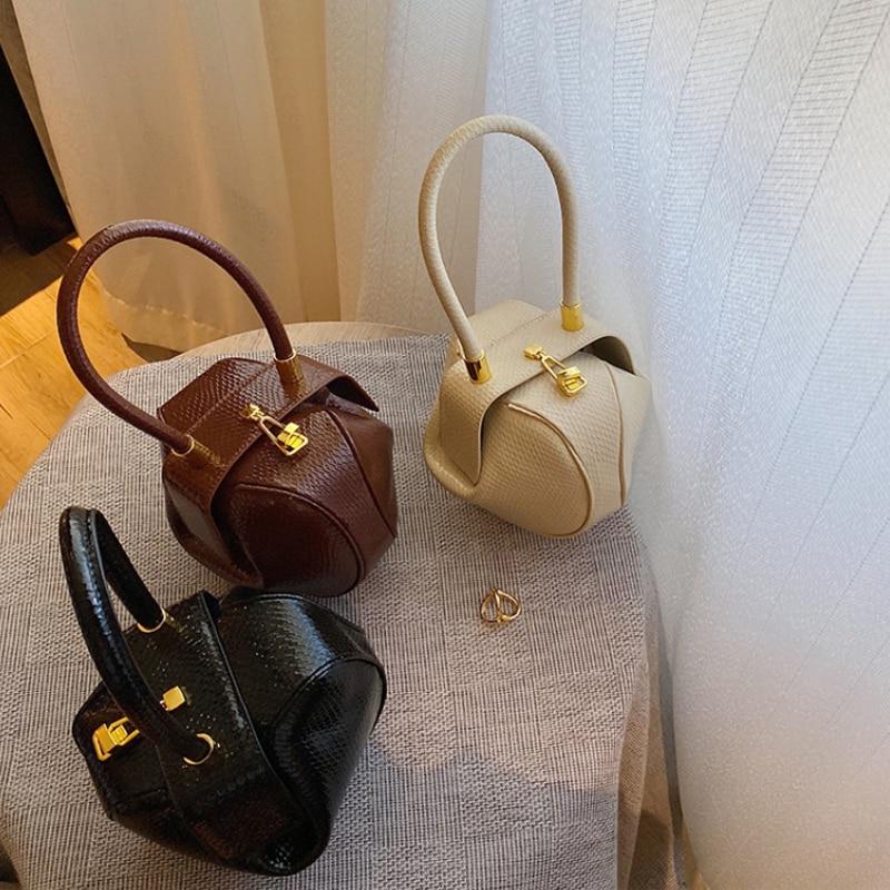 Brand Designer Vintage Globular Bag Snake for Women Cute Small Ladies Top Handle Bag 2021 Female Pur