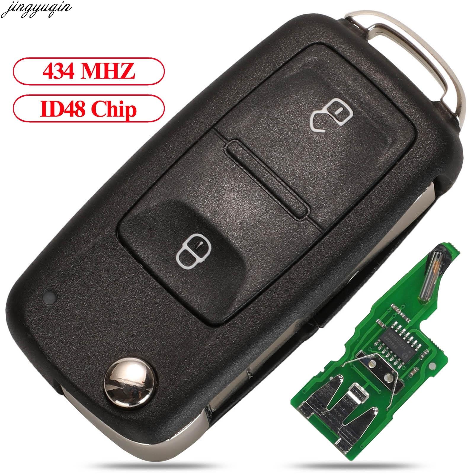 Jingyuqin Remote Car Flip Key 434MHz ID48 Chip For VOLKSWAGEN VW Amarok Transporter 2011-2016 7E0837202AD 5K0837202AD 2 Buttons