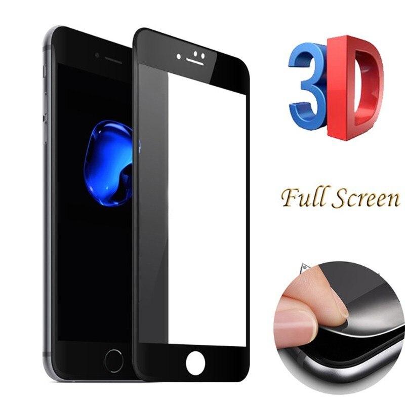 3D закаленное стекло для Iphone 7 6 6s 8 Plus, 6Plus, углеродное волокно, защита экрана, защитное на