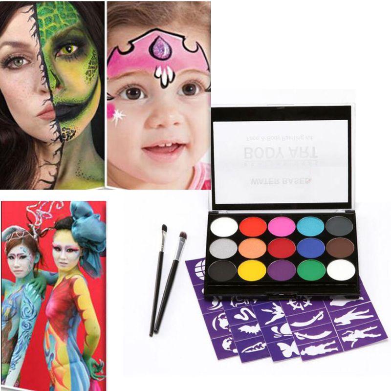 Paleta profesional no tóxica de 15 colores Kit de maquillaje de pintura facial de fiesta de cuerpo para niños